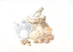 zucchero uova mandorle farina